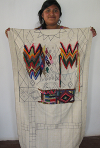Yessica with a hooked rug design based on a traditional huipil.