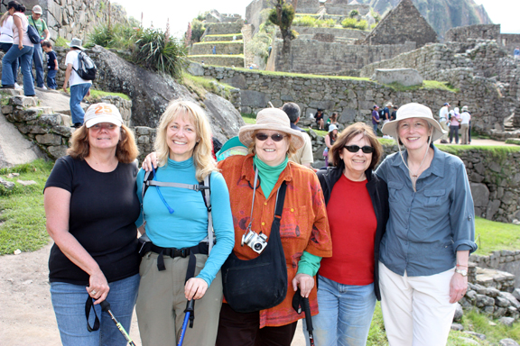 ClothRoads/ThrumsBooks on the road at Machu Picchu in 2009. From left: Linda Stark, Suzanne DeAtley, Dee Lockwood, me (when I was a brunette) and Marilyn Murphy.