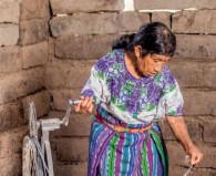 Ana Pu Ferpuac spinning wool.