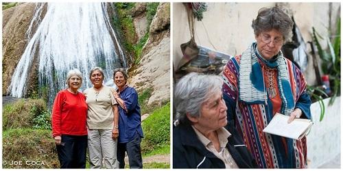 Deborah, Teresa, and Linda, weaving the book in Guatemala.