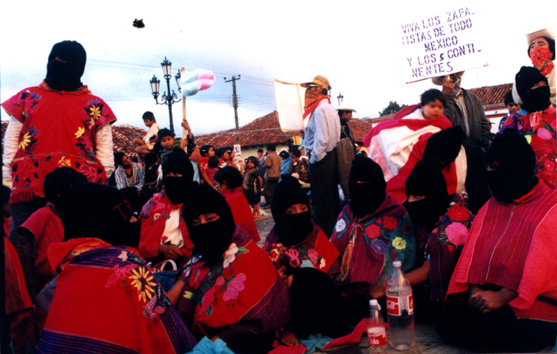 A gathering of Zapatista rebels, many of them women, around the time of the 1997 massacre of 45 Tzotzil peasants in the village of Acteal. Photo by Janet Schwartz.