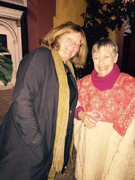 Fellow publisher and traveler Linda Stark with Carol Karasik, wearing an antique wool huipil.